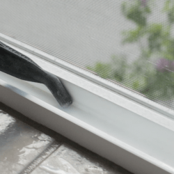 steam cleaner on window tracks