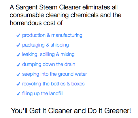 sargent steam cleaner greener