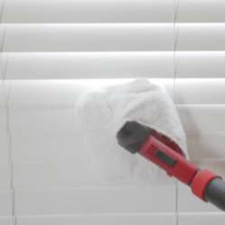 steam cleaner on window blinds